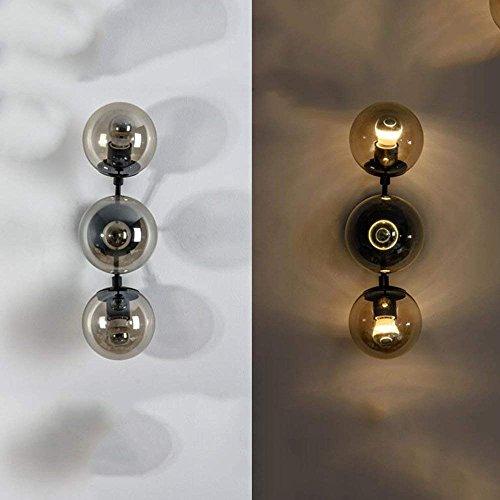 CWJ Lampe-Wandleuchte Dekorative Lichter Schlafzimmer Gang Kreative Kunst Lichter Retro Industrielle Licht Glas Ball Wand Restaurant Bekleidungsgeschäft Haushaltslicht,3 Köpfe,Amber Shade