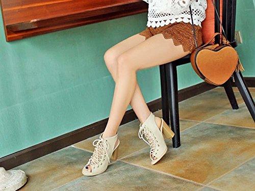 NobS Scarpe Da Donna Alte Tacco Alto Donne Scarpe Casuali Formato 40-48size Grandi Dimensioni Scarpe Punta Del Piede Delle Punte Tacchi Alti beige