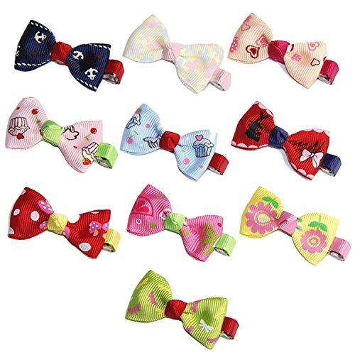 Beetest 10 STÜCKE Kinder Mädchen Bowknot Haarschleife Haarspange Haarspangen Clips Dekoration Zubehör Weihnachtsgeschenk Zufällige Farbe