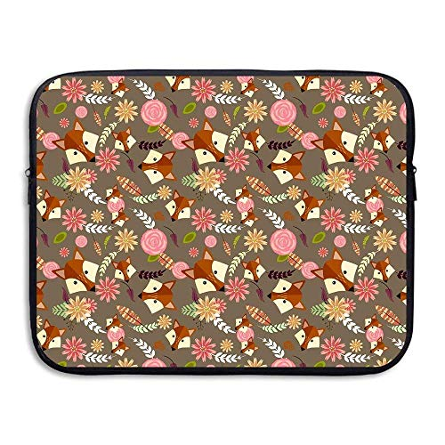 Laptop Sleeve Bag Flowers and Foxes Cover Computer Liner Package Protective Case Waterproof Computer Portable Bags -