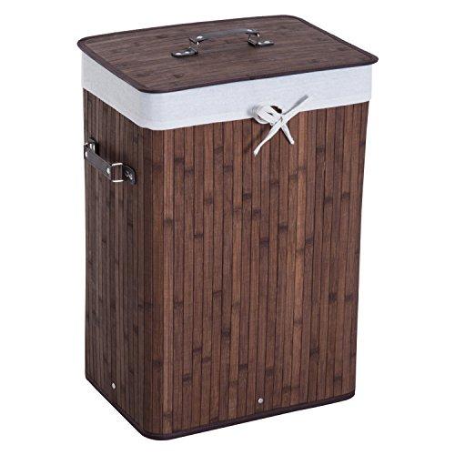 HomCom® Cesto para Ropa Sucia Plegable con Tapa Cesta de Lavandería Rectangular Bambú 70L con Asas 40x30x60cm Marrón