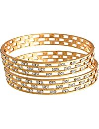 JFL - Fusion Ethnic Three Liner Austrian Diamond One Gram Gold Plated Bangle Set Kada For Women And Girls