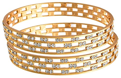 Jfl - Jewellery For Less Fusion Ethnic Three Liner Austrian Diamond One Gram Gold Plated Bangle Set Kada For Women (2.1, Copper)