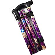 World Smallest Folding Walking Stick - Purple Floral