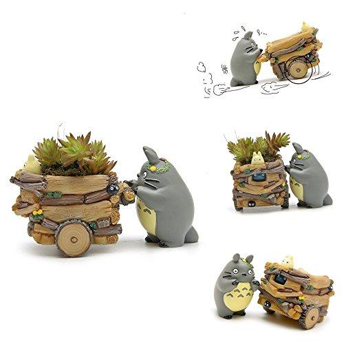 YOSPOSS Maceta de resina pequeña con forma de dibujos animados creativos para macetas, macetas, macetas, macetas, escritorio, jardín, decoración (Totoro)