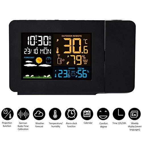 Dream-cool Elektronische Multifunktions- Innen- und Außentemperatur-Feuchtemessgerät Farbdisplay Wettervorhersage Wecker