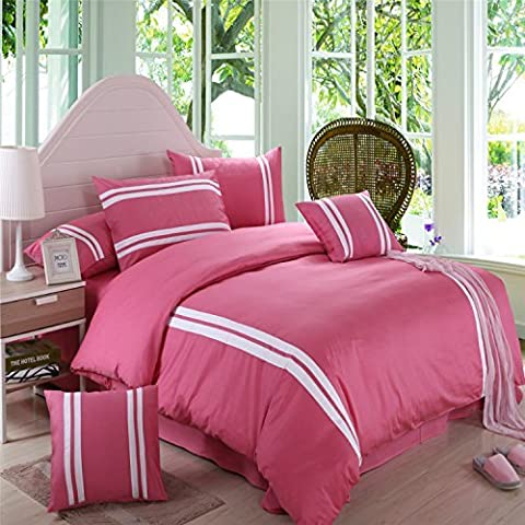 H&C 100% Cotton 800T 4-Piece Duvet Cover Set King Size White Stripes Pattern Pink Background Modern Simple Style by Unknown