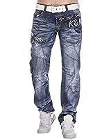 Kosmo Lupo Designer Jeans Hose Herren Cargo Style Blau Verwaschen Clubwear KM322