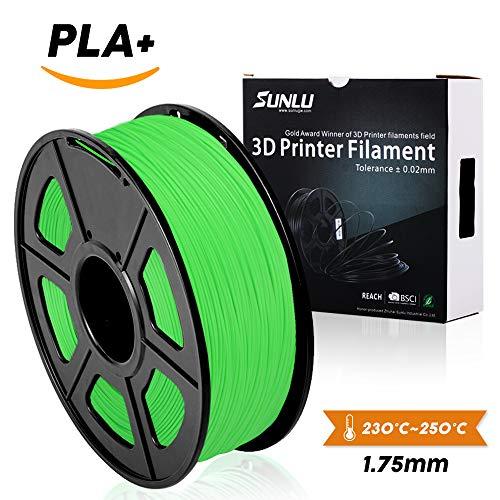 SUNLU 3D Printer Filament PLA Plus, 1.75mm PLA Filament, 3D Printing Filament Low Odor, Dimensional Accuracy +/- 0.02 mm, 2.2 LBS (1KG) Spool 3D Filament for 3D Printers & 3D Pens, Grass Green PLA+