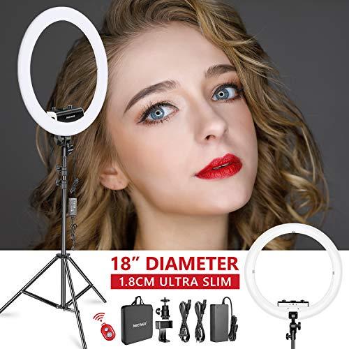 Neewer Ring Licht Set [Verbesserte Version - 1,8 cm Extrem Schlank] - 18 Zoll, 3200-5600K, dimmbares LED-Ringlicht mit Lampenfuß, drehbarer...