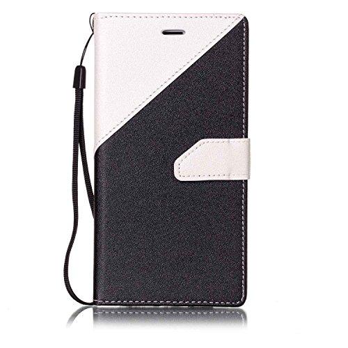 Per iPhone 7 Plus Custodia in Pelle Morbida,SKYXD Flip Cover Borsa Portafoglio Wallet Libro Fronte Retro Full Body Protezione Completa 360 Gradi Coperture Protettiva di Elegante Colorata Similpelle Ca Nero Bianco