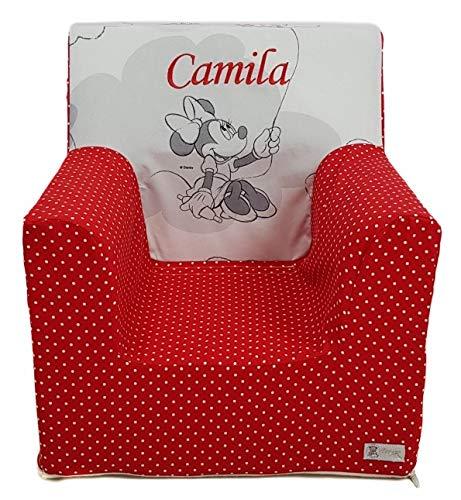 Montessoris Kindersessel oder Kindersitz aus Schaumgummi Gemacht PERSONALIZIERTE mit den NAME oder Ausdruck Verfügbar in mehrere Modellen und Farbene. (Gestellt Minnie entlang)