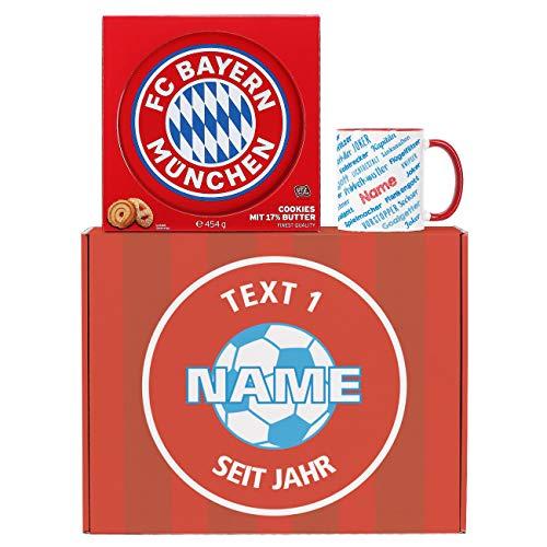 Herz & Heim® Bayern München Geschenkset mit Namenstasse und leckeren Dortmund Keksen in toller Verpackung mit Namensaufdruck