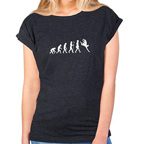 Ballett-neck-shirt (JUNIWORDS Damen T-Shirt Rolled Up Sleeves -Evolution Ballett - Wähle Größe & Farbe - Größe: M - Farbe: Anthrazit)