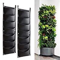 Bebester Wall Planting Bags, 2pcs 7 Pocket Wall Hanging Planter Planting Grow Bags Outdoor Indoor Gardening Vertical Greening Flower Container Black Plant Pouch