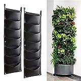Bebester Wandpflanzungsbeutel, 2 Stück, 7 Taschen, Wandbehang, Pflanzgefäß, Pflanzbeutel, für drinnen und draußen, für vertikale Grünung, Blumenkasten, Schwarz
