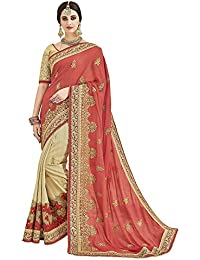 Diva & Diya Women's Peach & Beige Georgette Saree For Women Latest Design 2018 With Blouse Piece(Shiv2504# Sarees)