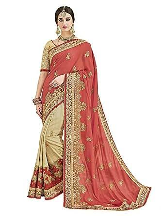 Arohi Designer Women's Silk and Georgette Saree with Blouse Piece(2504-AROHI15VR_Multicolour_Free Size)
