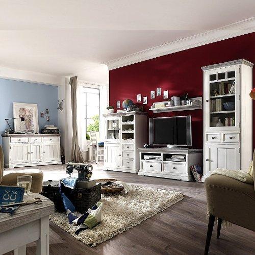 Wohnwand + Sideboard Recycle-Kiefer weiß - sandweiß