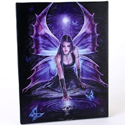 Fantastic Anne Stokes Design Immortal Flight - A Gothic Butterfly Fairy/ Angel Kneeling Over Puddle Canvas Picture On Frame Wall Plaque/ Wall Art