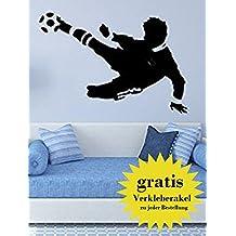 Tatuajes de pared Futbolista negro hecho en Alemania tamaño: 80cm x 50cm, para dormitorio de chico