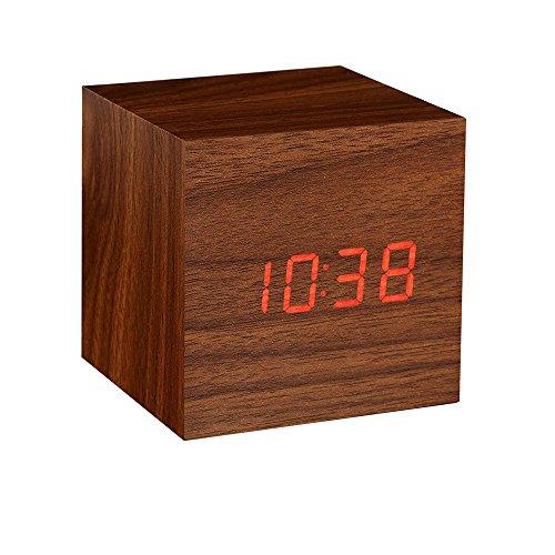 Onerbuy Wooden Digital Cube Wecker Touch Sound Aktiviert Schreibtisch Uhr Tragbare Reise Uhr mit LCD Display für Zeit, Temperatur, Kalender, 3 Alarm Einstellungen (Braun/2)