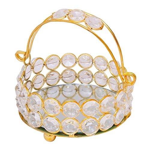 Jaipur Art Bazaar Basket Brass, Crystal Decorative Platter For Home Decor