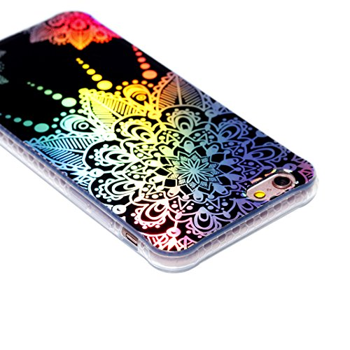 iPhone 6S Schutzhülle, iPhone 6 Transparent Case Rosa Schleife Ultra Dünn Premium TPU Softcase Silikon Hülle Mandala Bunte Plating Muster Durchsichtig Kratzfeste Handyhülle Bumper Schale für iPhone 6S Bunte Mandala