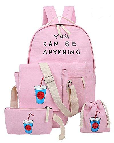 Imagen de yilianda niña bolsa de lona moda set de 4 piezas  + bolso de bandolera + billetera + pequeño bolsillo  mujer para escolar rosa
