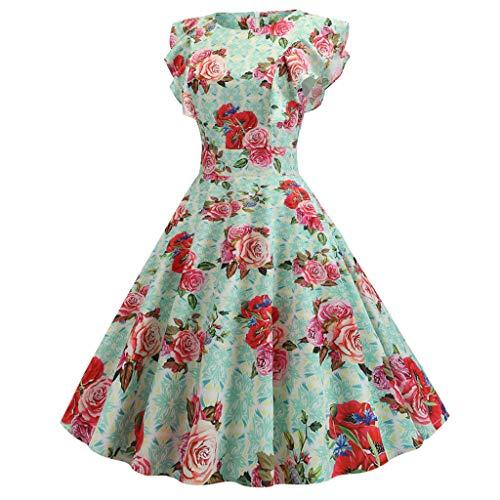 AZZRA Frauen-Weinlese-Schwingen-50s Hausfrau-beiläufiges Abend-Party-Abschlussball-Kleid 1950er Vintage Rockabilly Cocktail Petticoat Faltenrock ballkleid Abendkleid