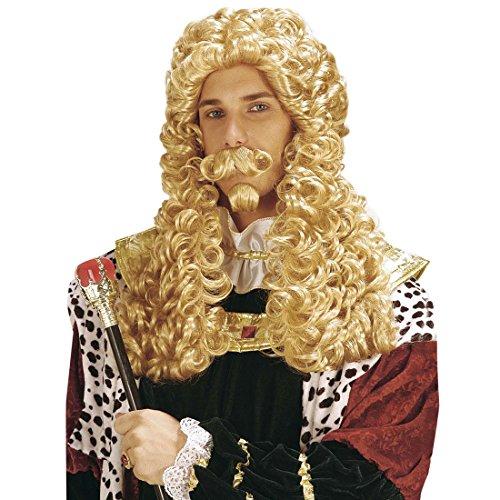 In Kostüm Gelb König Der (König Set Perücke Bart Schnurrbart blond Königsperücke Spitzbart Schnauzer Adel Langhaarperücke Märchen Lockenperücke und Bärte Mottoparty Haar Set Karneval Kostüm)