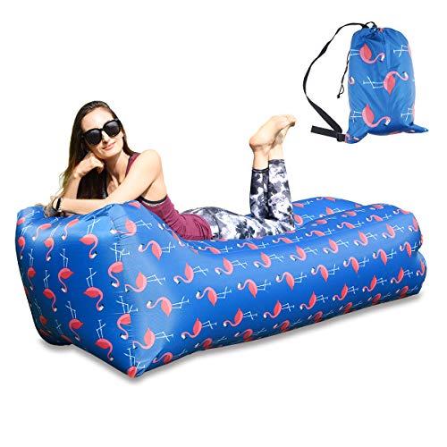 BACKTURE Aufblasbares Sofa, Single Port aufblasen Tragbares wasserdichtes Lounger Schlafsack integriertem Seitentaschen Air Sofa Kissen Outdoor für Camping Wander, Schwimmbad