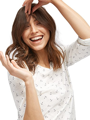 TOM TAILOR Damen Langarmshirt Casual AOP Shirt With Turn-Ups Whisper White