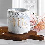 LEKOCH 380ML Mr und Mrs Keramik Becher Kaffee Tassen Teetasse, Porzellan Becher, Geschenk für Liebe (Grau)