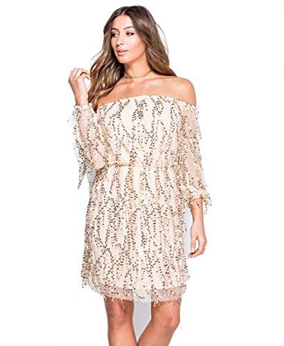 Damen Muster Paillettenpelz Aus Der Schulter Kleid EUR Größe 36-42 Nackt