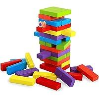 WOOMI INDUSTRIES Colour Jenga Blocks Timber Tower Tumbling Game for Adults, Jenga Game Traditional Classic Jenga Blocks…