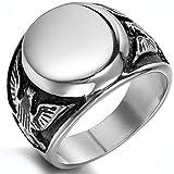 JewelryWe Gioielli anello Punk Rock stile acciaio inossidabile quila calva dipinto uomo anello matrimonio : UK misura - T