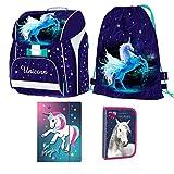 kids4shop Einhorn Unicorn Pegasus Pferd Pony Horse 4er Set Schulranzen inklusive Sticker v RANZEN Tasche TORNISTER
