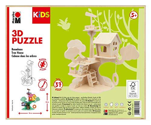 Marabu 0317000000011 Kids - Puzzle de Madera en 3D (37 Piezas), diseño de casa de árboles 28 x 26 cm, Color marrón
