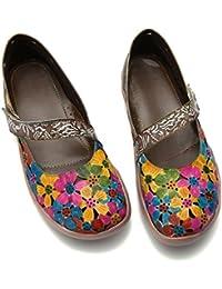 gracosy Mocasines de Cuero Merceditas Zapatos Planos para Mujer Verano Slip-On Hecho a Mano Cómodo Primavera Mocasines Vintage…