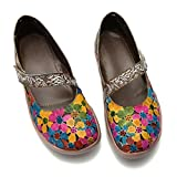 Camfosy Damen Leder Mokassins Schuhe,Vintage Blume Espadrilles Loafer Metallic Flache Mary Jane Schuhe Komfort Arbeitsschuhe Halbschuhe 2019 Frühling