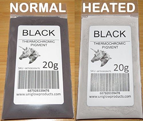 20g thermochromes, temperatur-aktiviertes Pigment, verschiedene Farben, wärmeempfindliches Farbwechsel-Puder zum Malen, Nagellack, Tinte, Siebdruck, Textilkunst, Keramik und mehr Schwarz