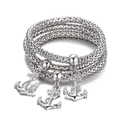 (OOFAY Armband Schlangen Knochen Kette Schiff Anker Crystal Diamond Pendant Hohl Metallcharakter Gold Silber Goldschmuck,Silver)