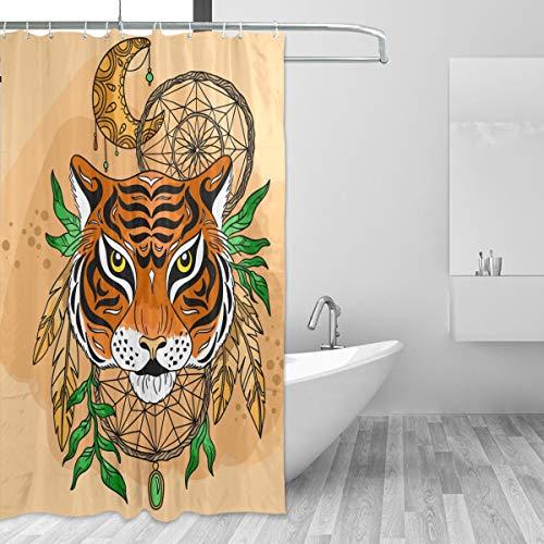 Ahomy Home Decor Cortina de Ducha atrapasueños Tigre Impermeable Resistente al Moho Tela baño decoración Set con 12 Ganchos, 60 Pulgadas x 72 Pulgadas