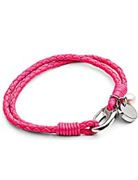 Tribal Steel Neon Pink Two Strand Leather Bracelet for Women with Pearl and Disc Charm of 19cm