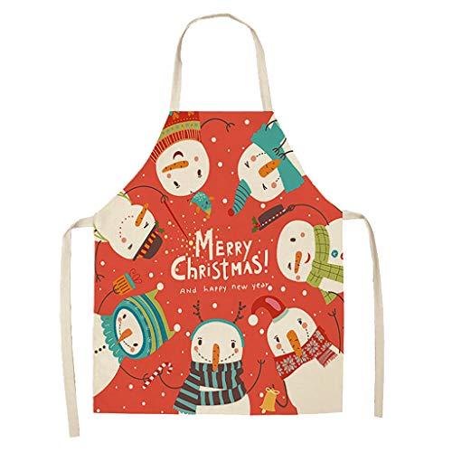 Baumwolle und Leinen Küchenschürzen, Grillschürze, Backschürze, Kochschürze für Frauen und Männer - Weihnachtskochschürze - Schürze als Weihnachtsgeschenk Weihnachtsschürze (E)