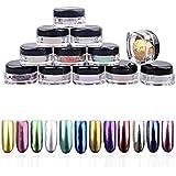 uñas espejo kit Sannysis 12 colores polvo de espejo para uñas
