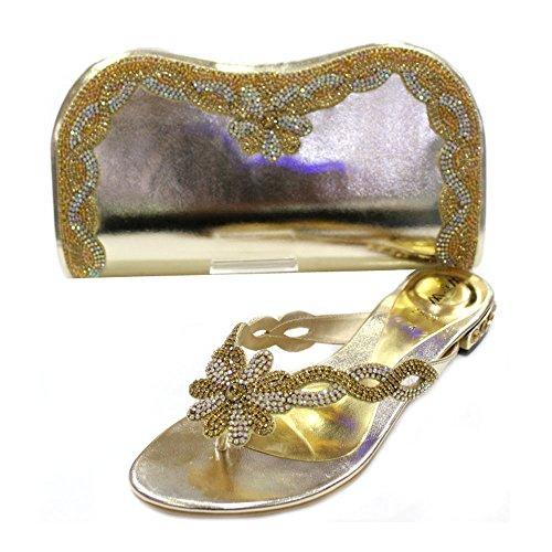 W & W Frauen Damen Kristall mit Schuhe & passender Tasche Größe (Gemz & Tango) Gold