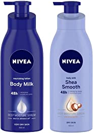 Nivea Nourishing Lotion Body Milk with Deep Moisture Serum and 2x Almond Oil for Very Dry Skin, 400m and NIVEA Body Milk, Shea Smooth, 400ml