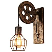 YMXMJZM Bedroom Up Adjustable Fixture Wall Light, Pulley Style Cage Wrought Iron Wall Lamp, Retro Industrial Decorative Metal Sconces bathroom (Color : Sweeping gold)